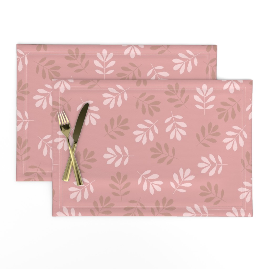 Lamona Cloth Placemats featuring Pink Leaves by saralinegraphics