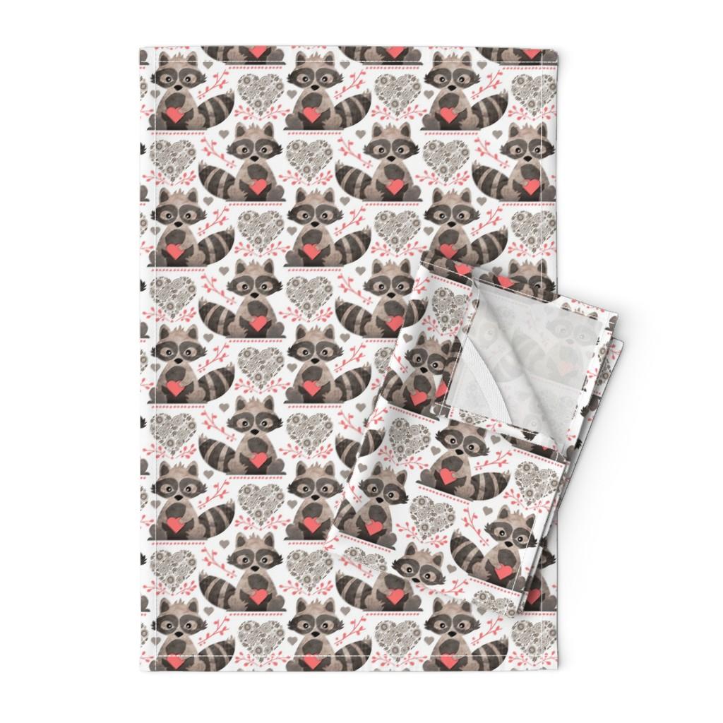 Orpington Tea Towels featuring Raccoon's Valentine - Coral by run_quiltgirl_run