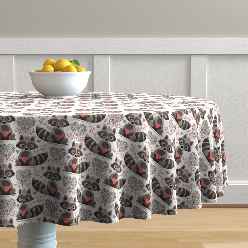 Malay Round Tablecloth featuring Raccoon's Valentine - Coral by run_quiltgirl_run