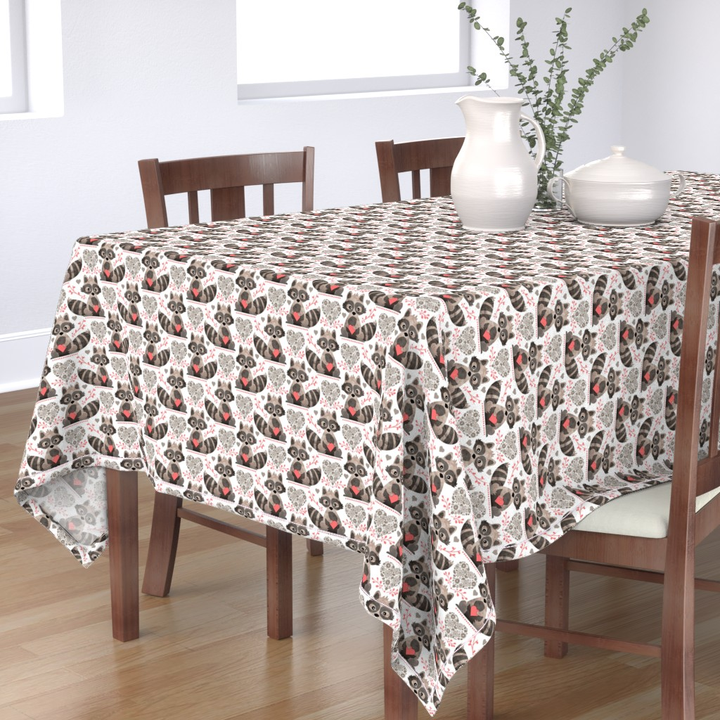 Bantam Rectangular Tablecloth featuring Raccoon's Valentine - Coral by run_quiltgirl_run
