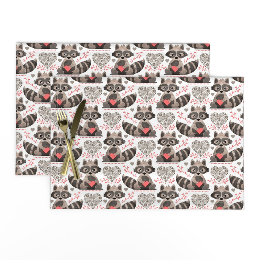 Lamona Cloth Placemats featuring Raccoon's Valentine - Coral by run_quiltgirl_run