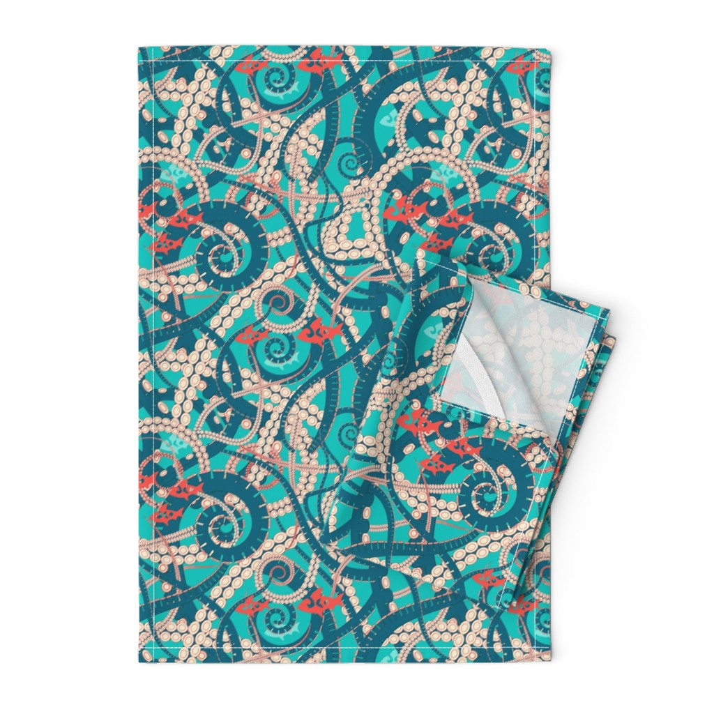 Orpington Tea Towels featuring octopus by minyanna