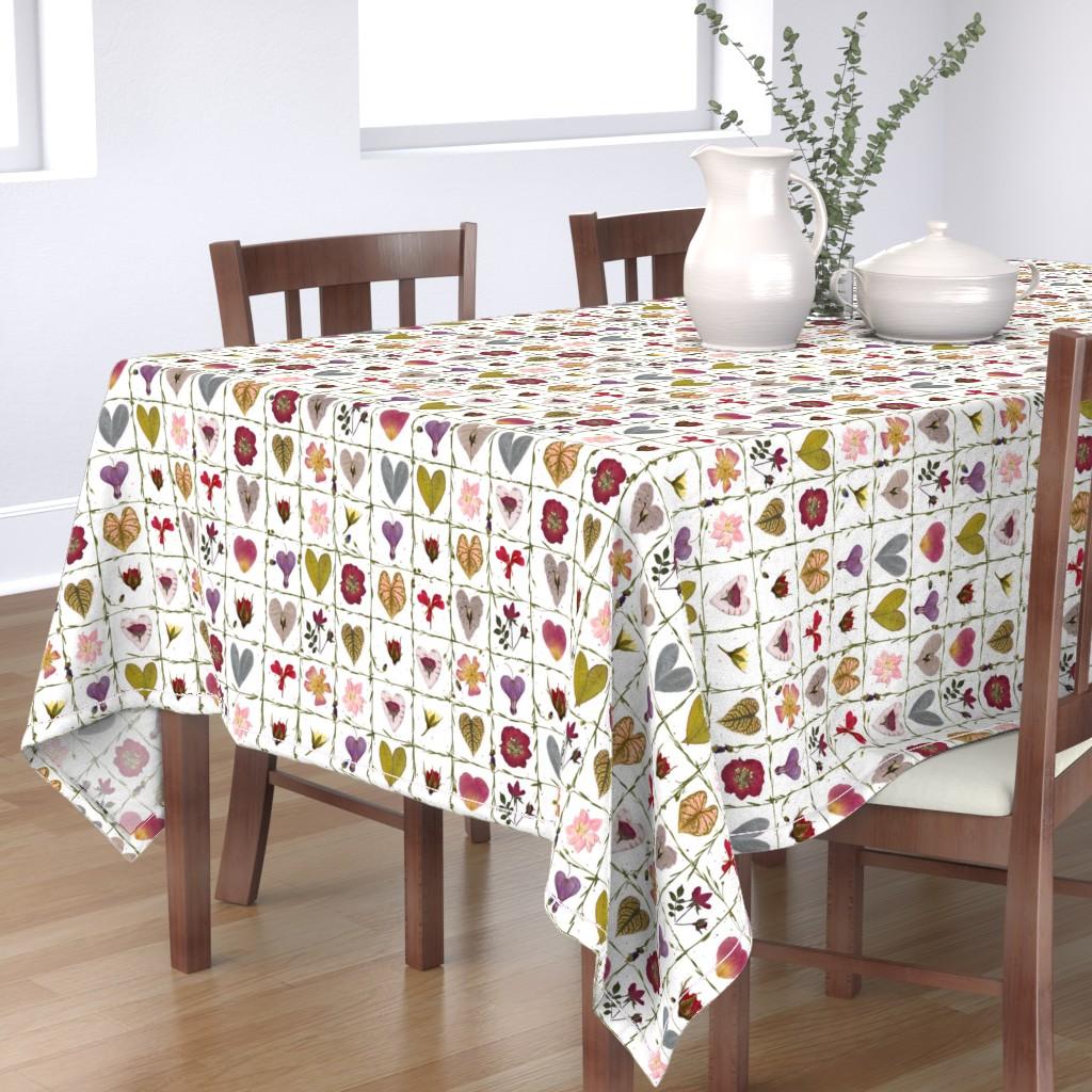 Bantam Rectangular Tablecloth featuring Valentine Garden by mypetalpress