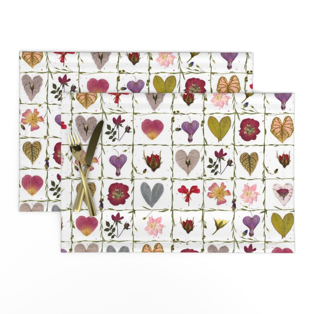 Lamona Cloth Placemats featuring Valentine Garden by mypetalpress