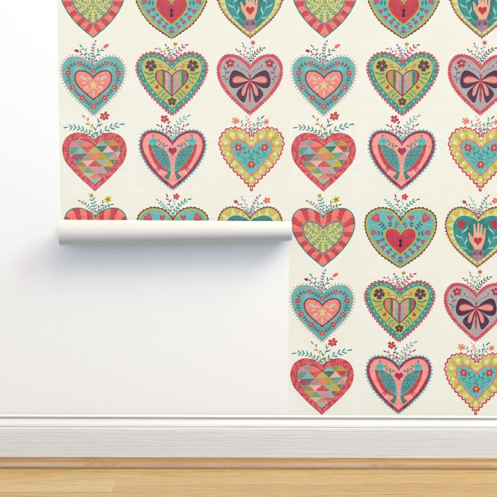 Isobar Durable Wallpaper featuring Folk Hearts by suzytaylordesigns