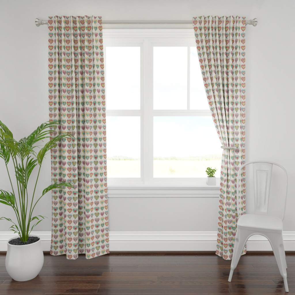 Plymouth Curtain Panel featuring Folk Hearts by suzytaylordesigns