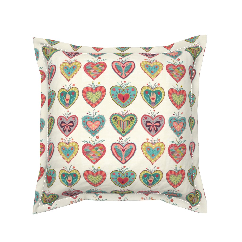 Serama Throw Pillow featuring Folk Hearts by suzytaylordesigns