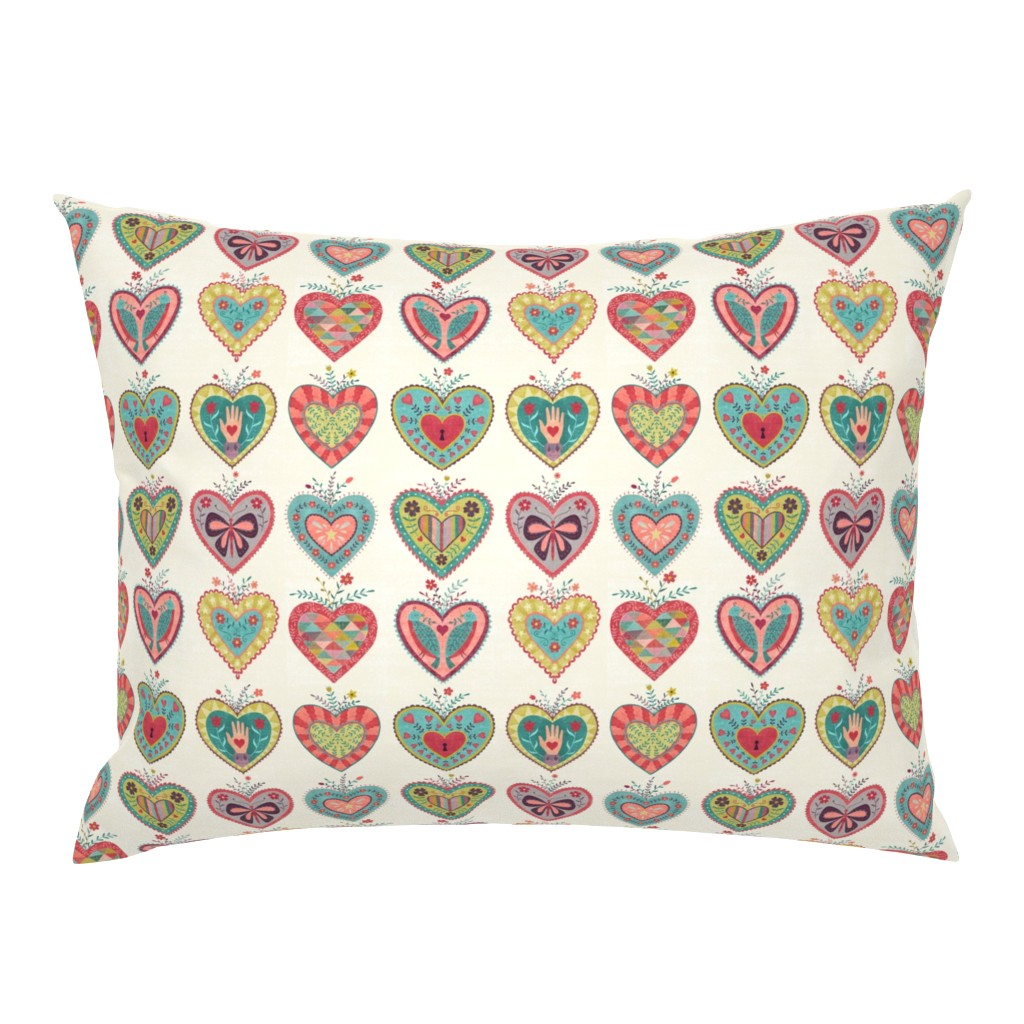 Campine Pillow Sham featuring Folk Hearts by suzytaylordesigns