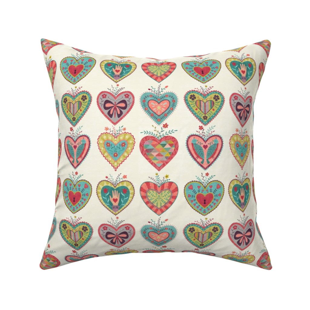 Catalan Throw Pillow featuring Folk Hearts by suzytaylordesigns