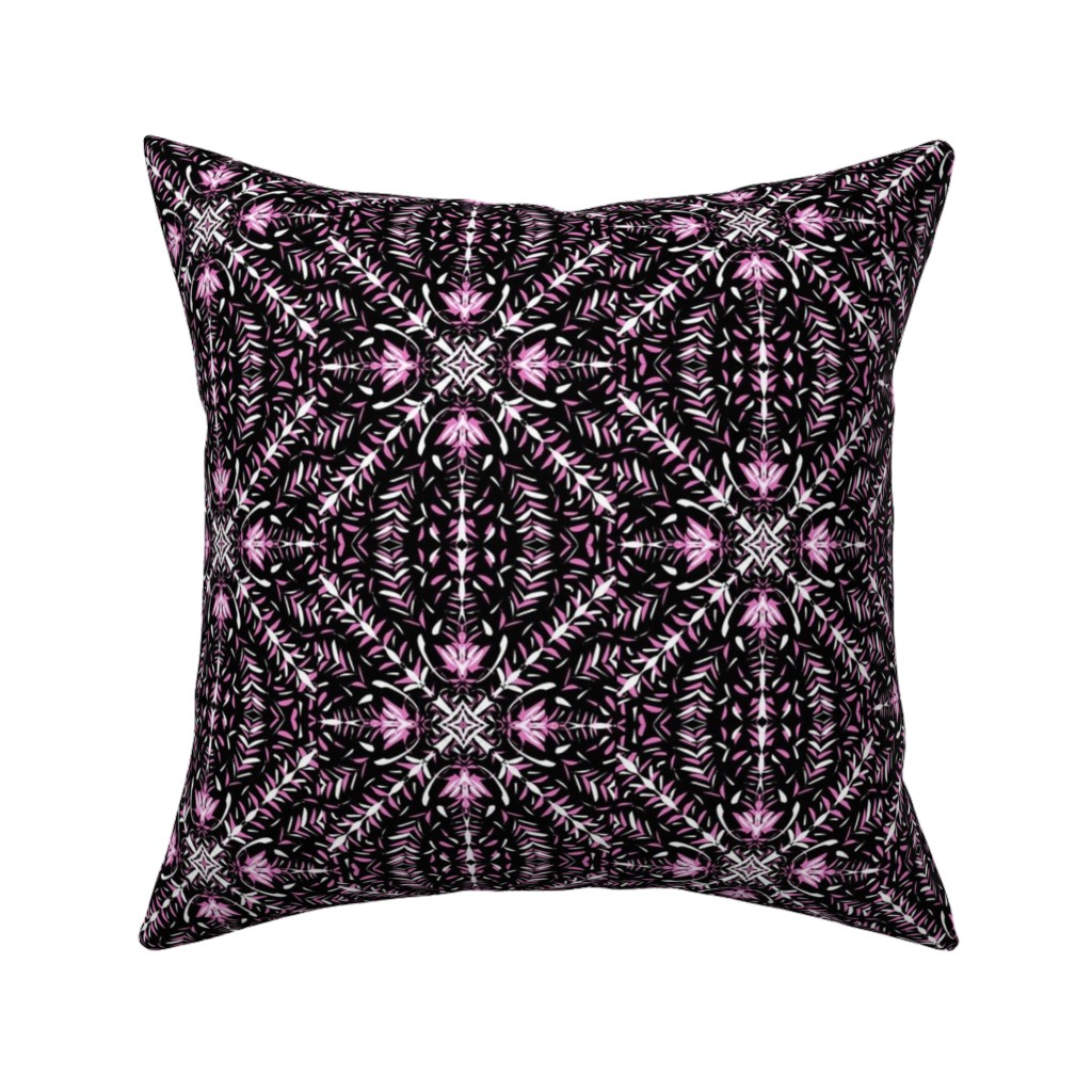 Catalan Throw Pillow featuring Light on the Lattice of Dainty Leaves by rhondadesigns