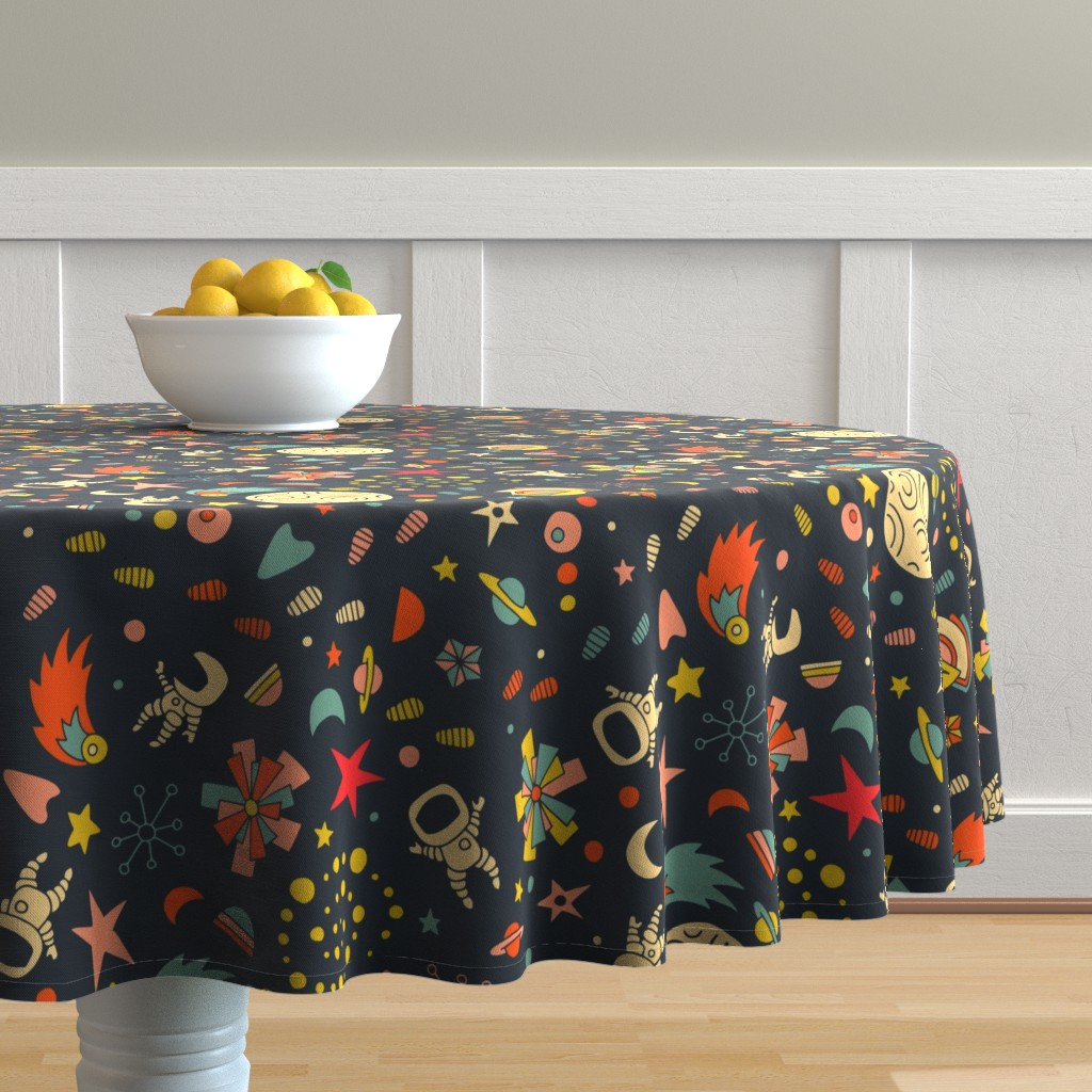 Malay Round Tablecloth featuring Moon Walker by seesawboomerang