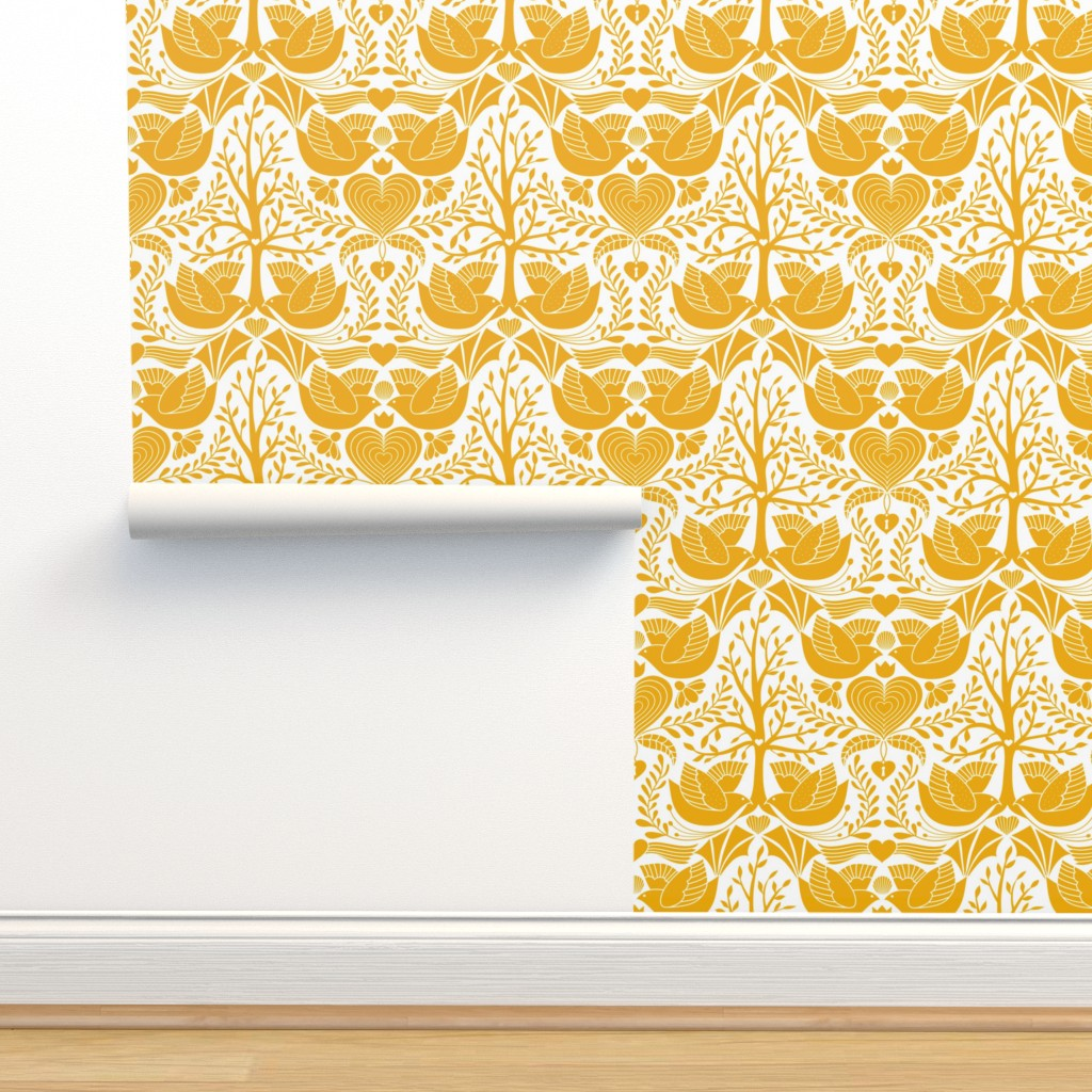 Isobar Durable Wallpaper featuring valentine tree of life damask   by vo_aka_virginiao