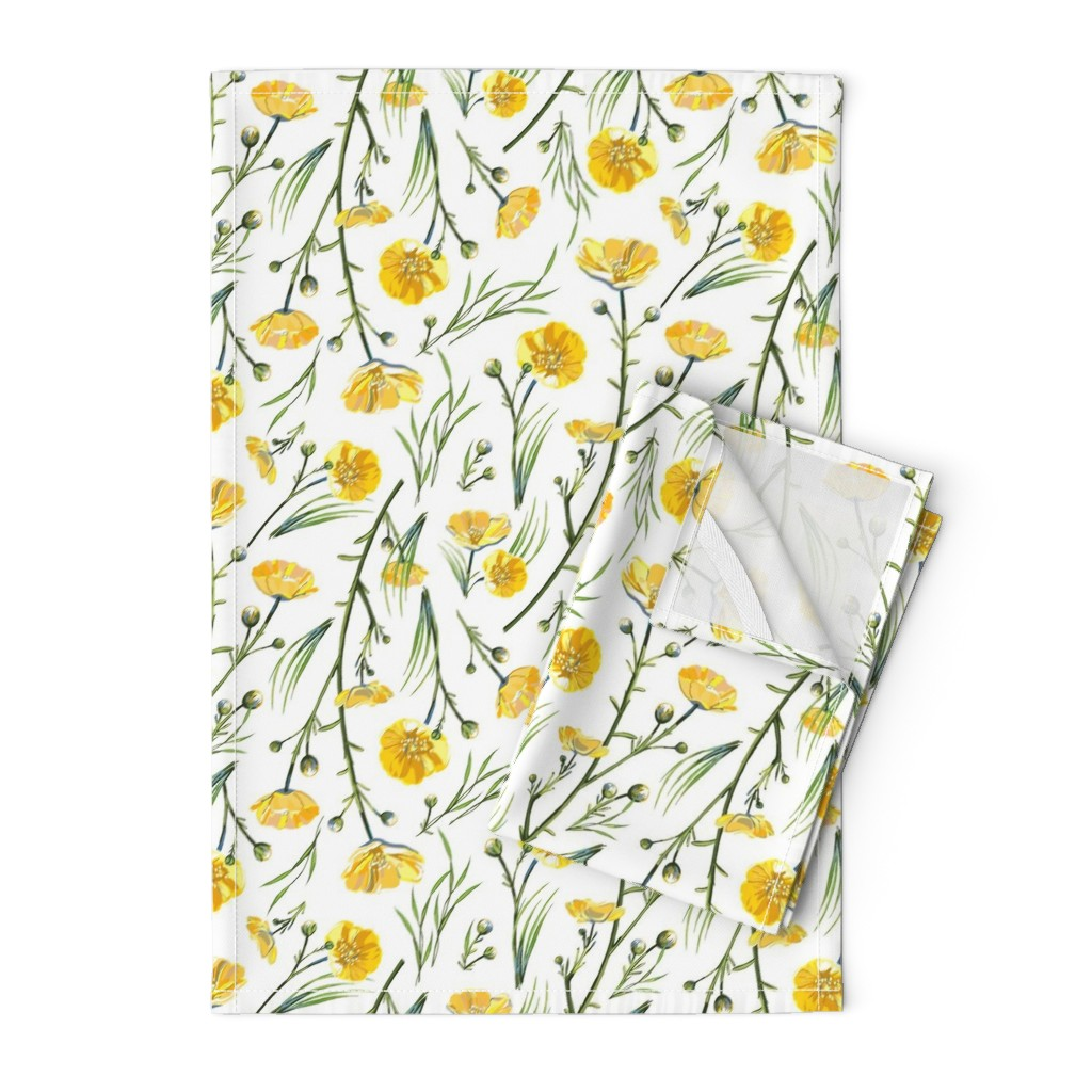 Orpington Tea Towels featuring Field Buttercups | Solid White | Large by southwind
