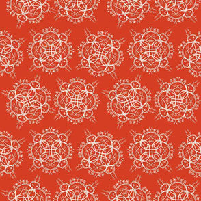 Wicker Floral on Retro Red