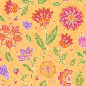 Red vintage flowers on yellow background