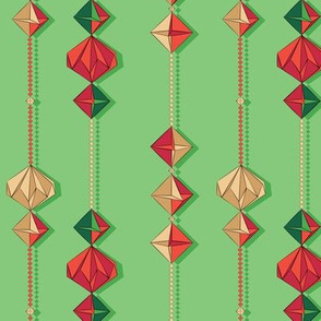 Paper decorations on green