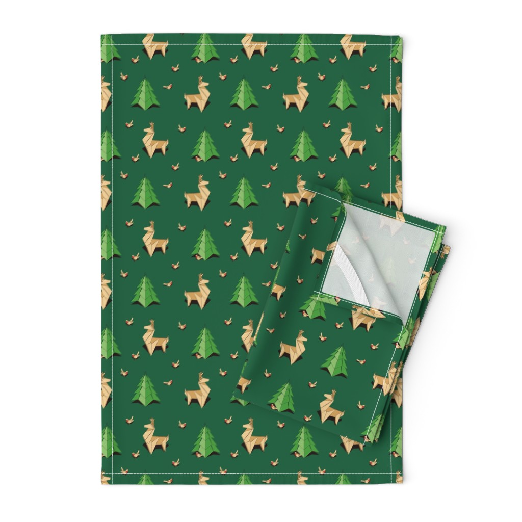 Orpington Tea Towels featuring Origami Reindeers and Pine Trees by nadyabasos