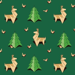 Origami Reindeers and Pine Trees
