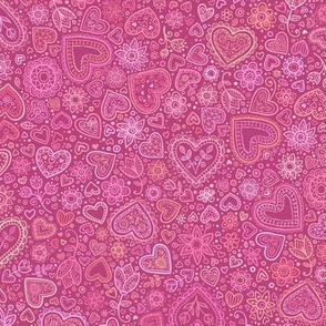Pink ornate hearts