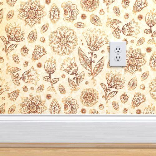 Wallpaper Indian Flowers Pattern