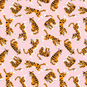 Tigers on the pink (large scale)