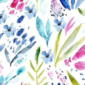 Vibrant scandi bloom || watercolor floral pattern