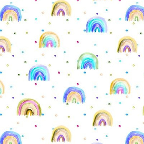 Watercolor rainbows in blue and brown with polka dot || colorful pattern for nursery