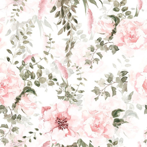 """18"""" Lush greenery and florals - double on white"""