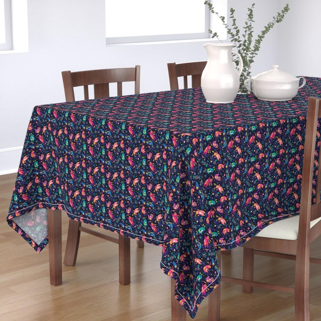 Bantam Rectangular Tablecloth featuring moon bunnies by penguinhouse