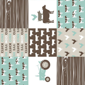 Farm Life Wholecloth - Farm themed patchwork fabric - cows, pigs, roosters - dark mint and brown C18BS (90)
