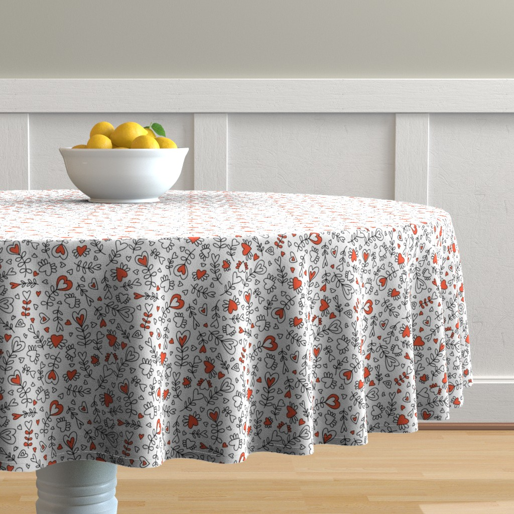 Malay Round Tablecloth featuring Love in doodles by kancerina