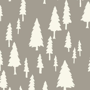 Fir Trees - Ivory,  Mushroom