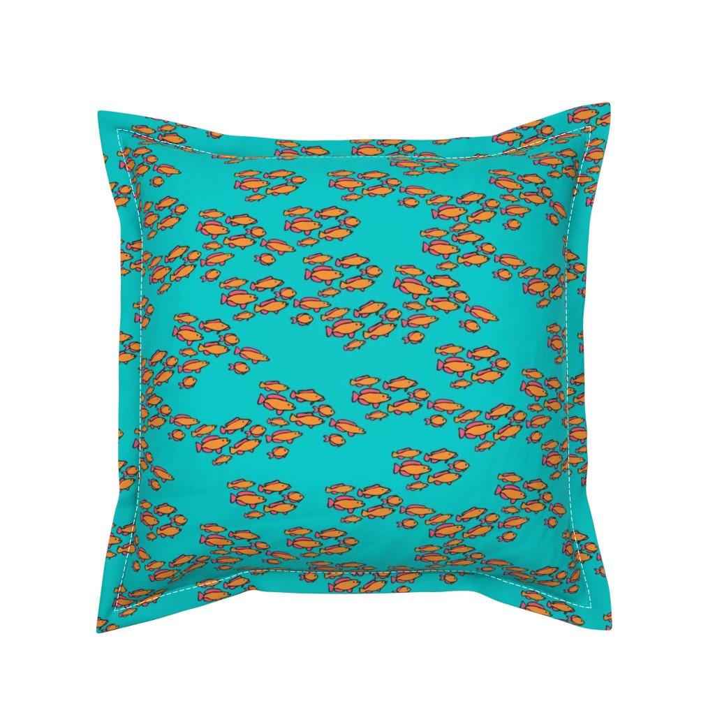 Serama Throw Pillow featuring Orange & Pink Fishies on Teal Blue Sea by lauriekentdesigns