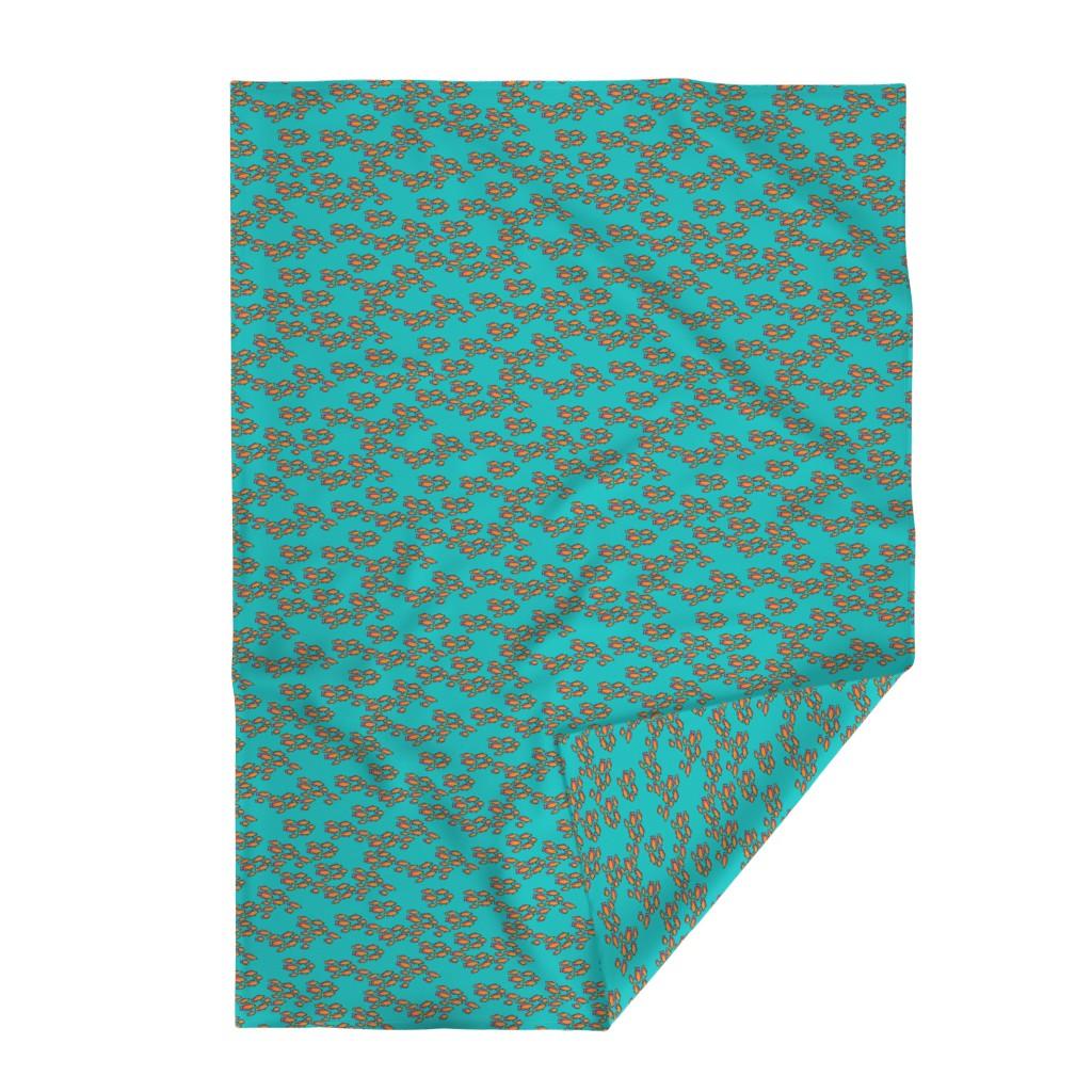 Lakenvelder Throw Blanket featuring Orange & Pink Fishies on Teal Blue Sea by lauriekentdesigns