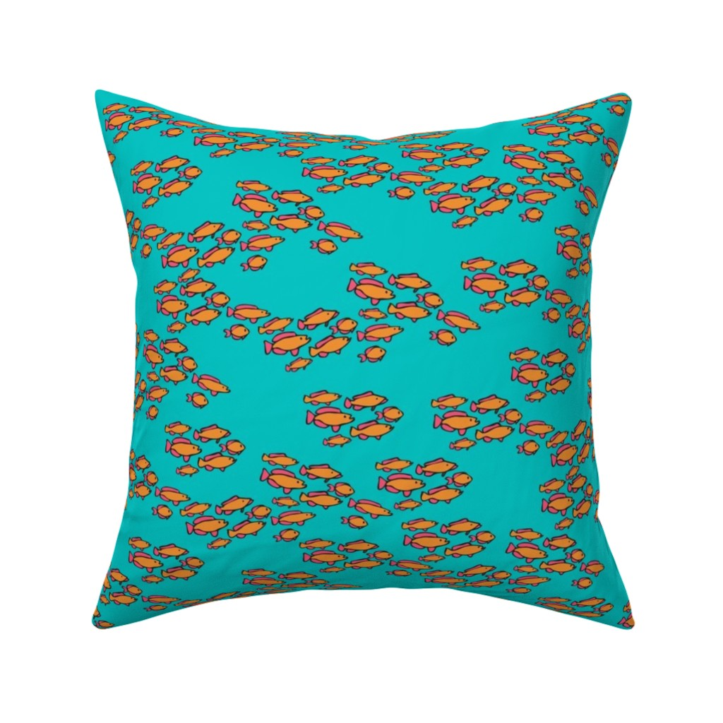 Catalan Throw Pillow featuring Orange & Pink Fishies on Teal Blue Sea by lauriekentdesigns