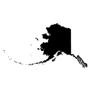 "Alaska silhouette - 18"" black and white"