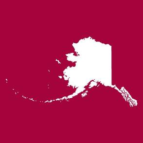 "Alaska silhouette - 18"" white on cranberry"