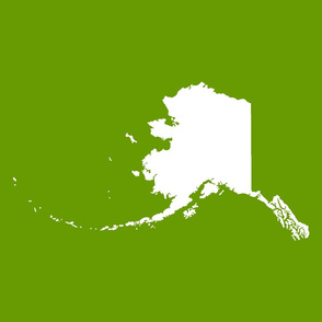 "Alaska silhouette - 18"" white on leaf green"
