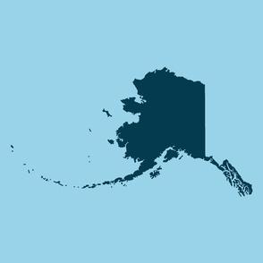 "Alaska silhouette - 18"" navy on light blue"