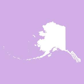 "Alaska silhouette - 18"" white on lilac"