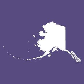 "Alaska silhouette - 18"" white on purple"