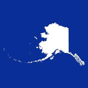 """Alaska silhouette - 18"""" white on cobalt blue"""