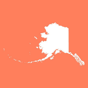 "Alaska silhouette - 18"" white on coral"