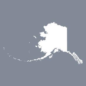 "Alaska silhouette - 18"" white on cool grey"