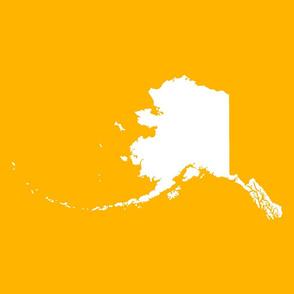 """Alaska silhouette - 18"""" white on yellow gold"""