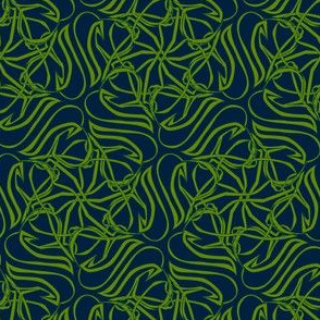 cat tangle - green and blue