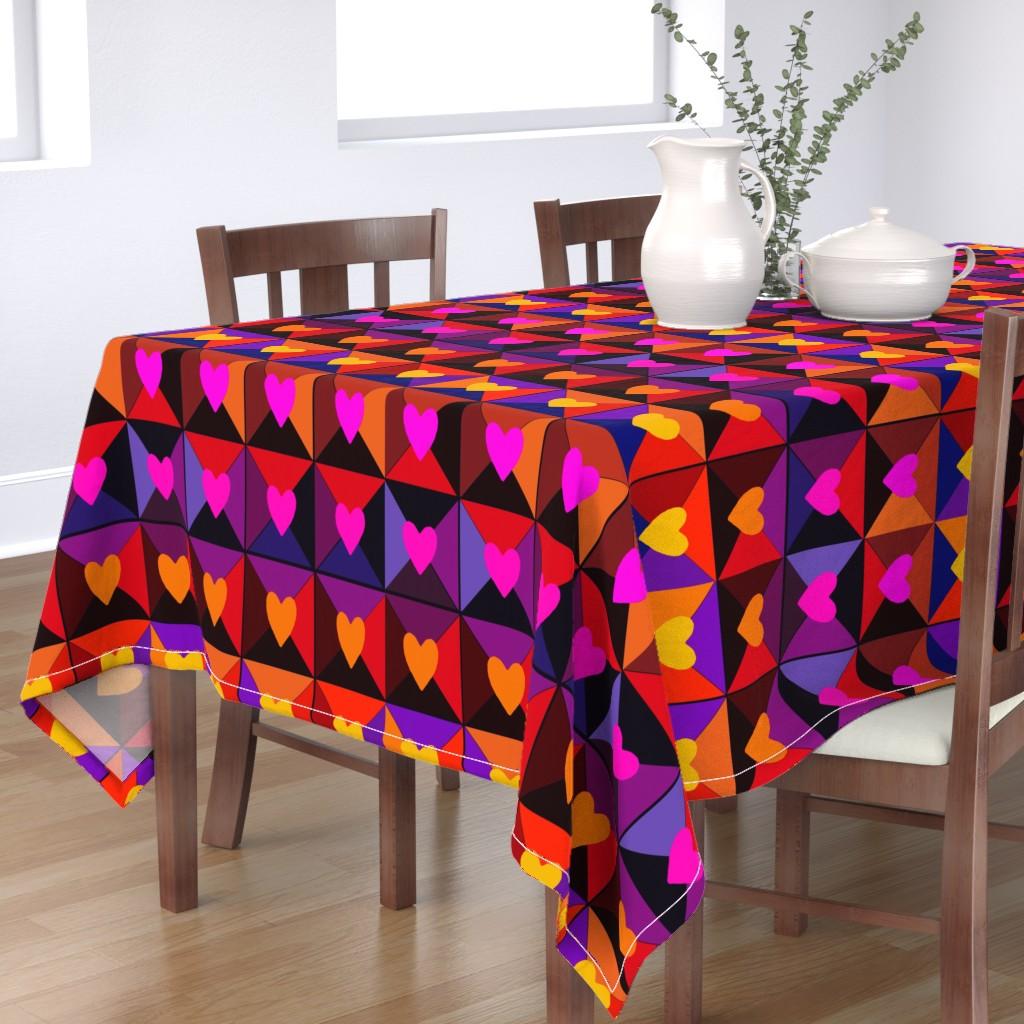 Bantam Rectangular Tablecloth featuring Valentine Boxes - Red by vagabond_folk_art