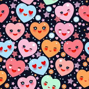 kawaii heart Be My Valentine pink, yellow, lilac, orange, blue green, on black background. Valentine's Day