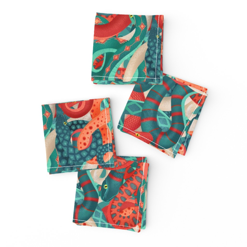 Frizzle Cocktail Napkins featuring coral serpentine by michaelzindell