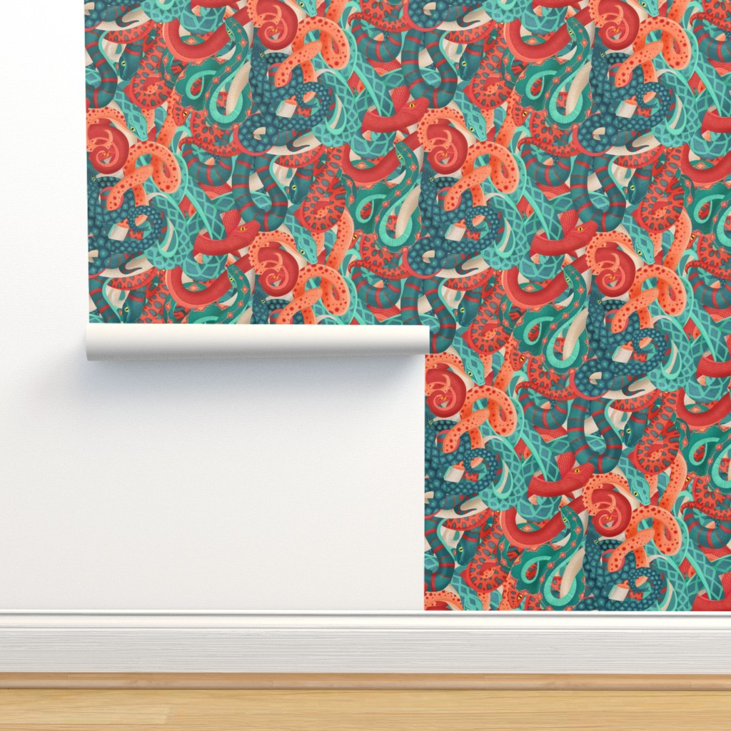 Isobar Durable Wallpaper featuring coral serpentine by michaelzindell
